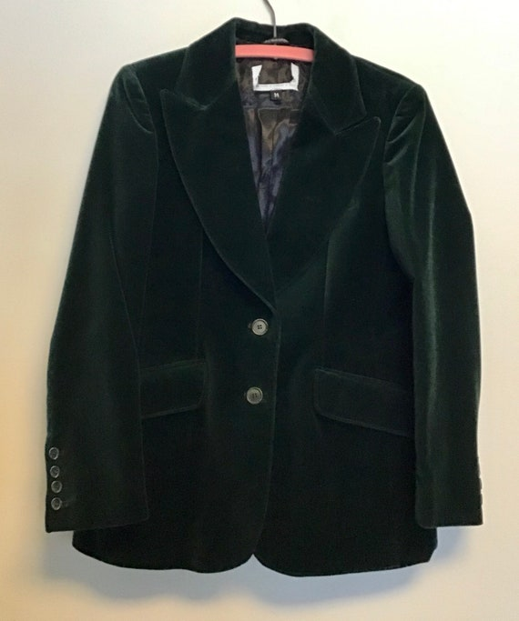 Emerald Green Velvet Luxury Blazer Women's Size-14