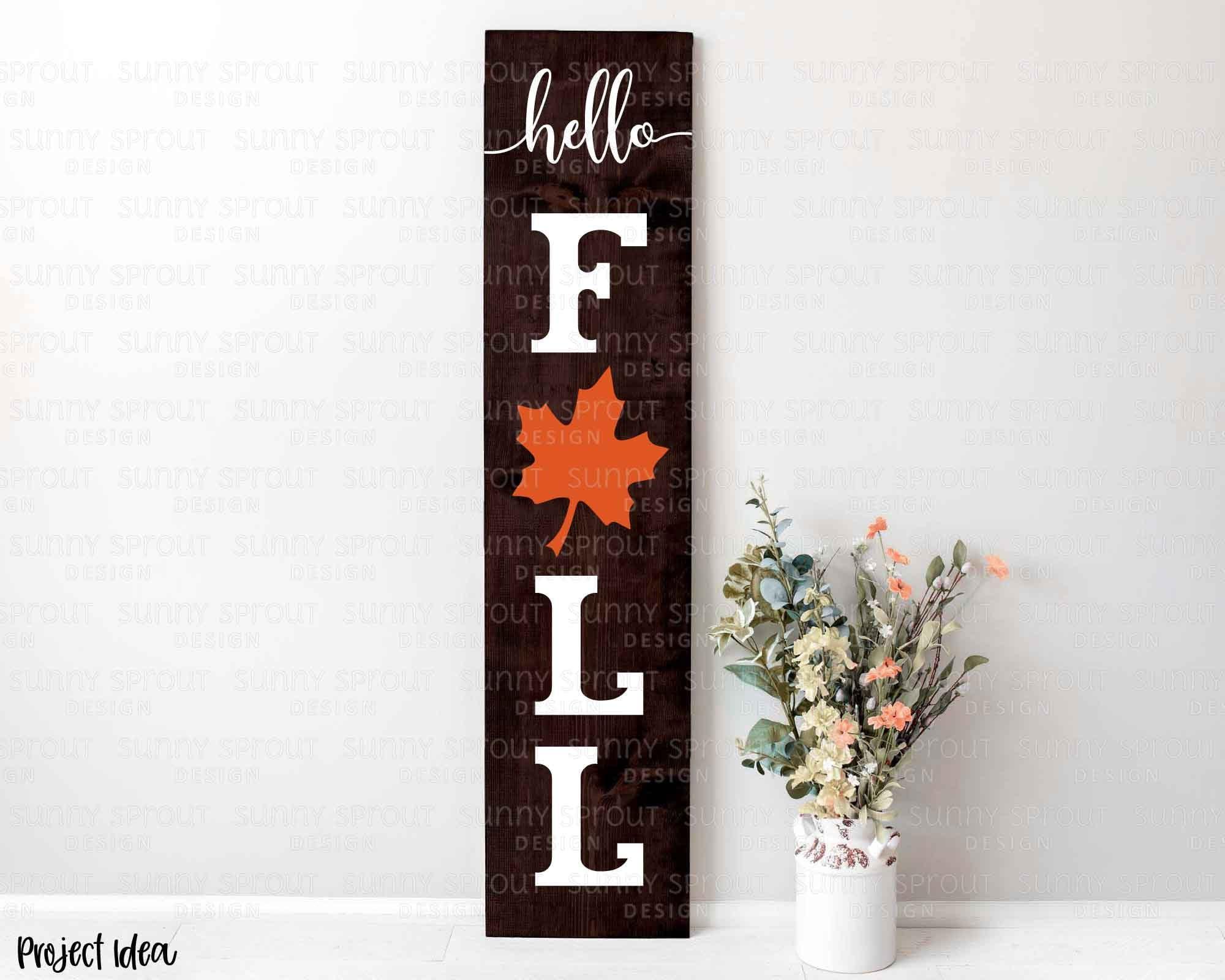 Hello Fall Leaf Porch Sign Digital Download Svg Png Jpg Etsy