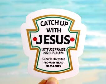 Jesus stickers | Catch up with Jesus | Christian Stickers |  Faith Stickers | Waterproof Stickers