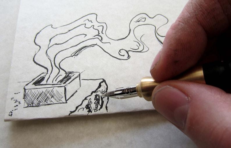 Ink Drawing Artist Pen Drawing Pen Ebony and Brass Dip Pen