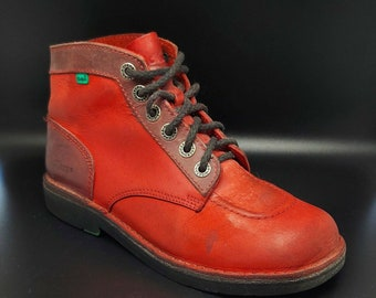 Kickers Red Leather Boots - Rare UK 6.5 EUR 40