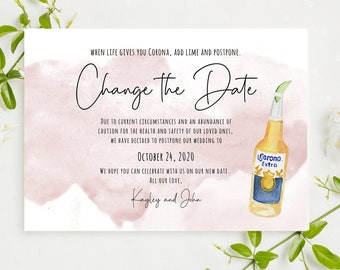 Watercolor Postpone Wedding Announcement 6x4 Wedding Date Change Notice Rescheduled Wedding Printable Template Watercolor Change the Date