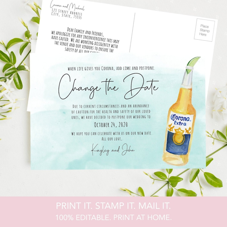 Instant Download Wedding Postponement Card Photo Same People Change The Date Resave 4X6 Printable Save the Date Rescheduled Wedding