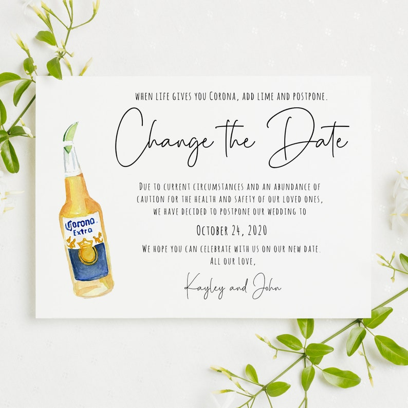 6x4 Change the Date Card Printable Template Funny Postponed image 1