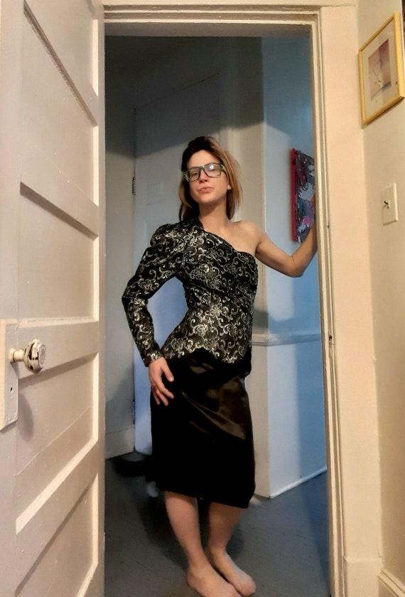 1980s asymmetrical Gunne Sax gown