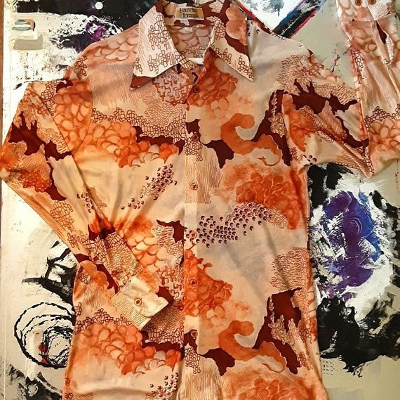 Men's 1970's psychedelic Asian disco shirt