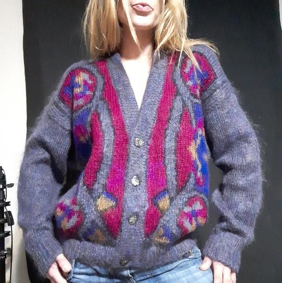 1990's oversized geometric mohair cardigan