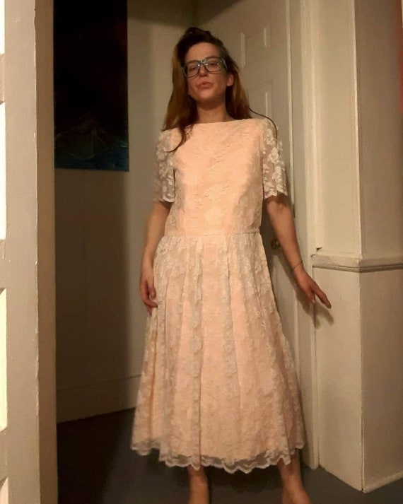 70's does 20's pink lace maxi dress