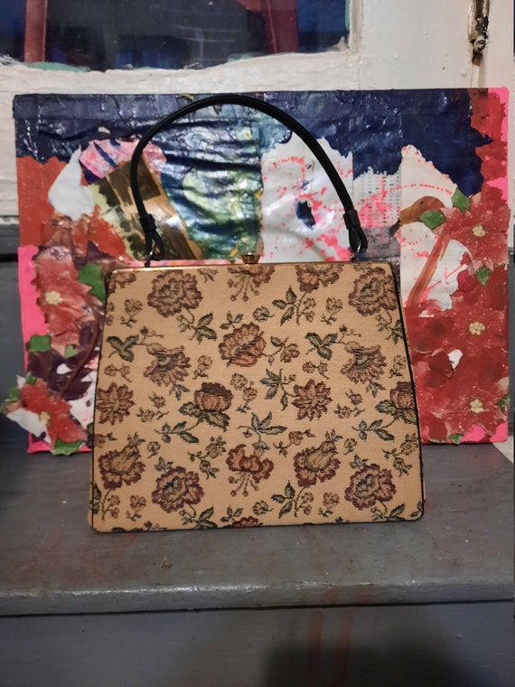 Rare 1950's Verdi tapestry carpet bag w/ matching