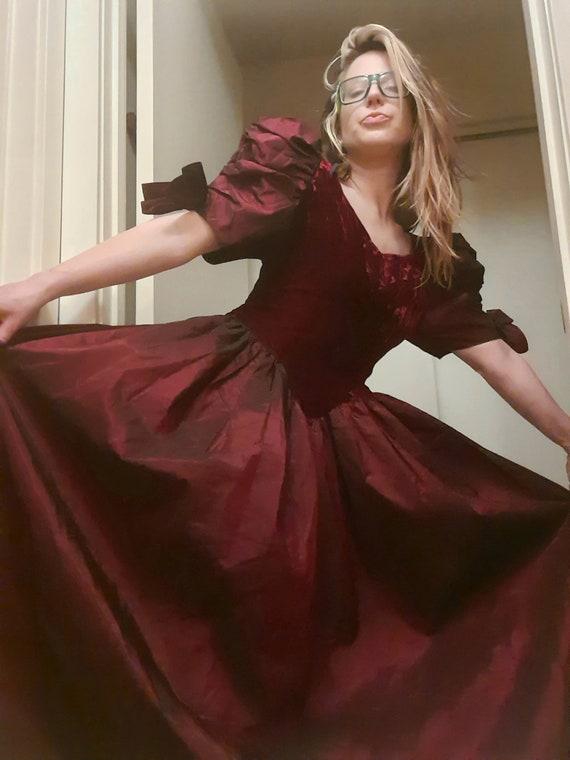 Glam 1980's Goth velvet ball gown, prom ~ bridesma