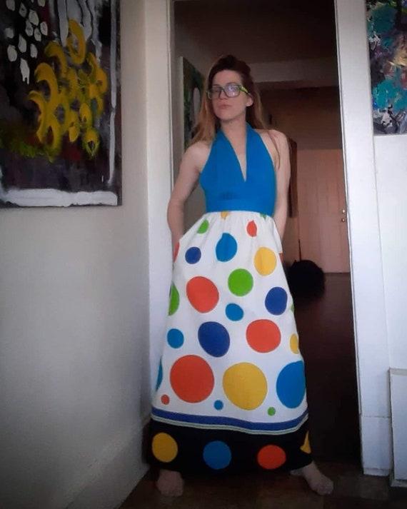 Mod 1960's Twister costume maxi dress