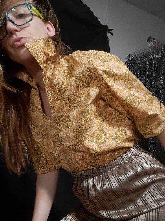 1950's batik print rockabilly blouse