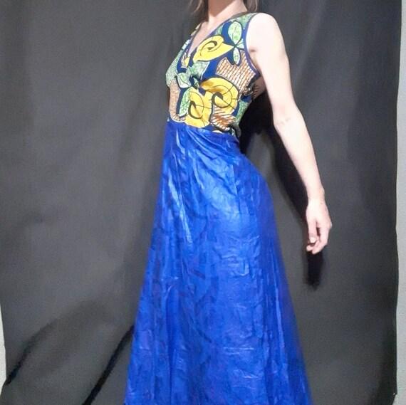1980's plus sized batik print mermaid maxi dress - image 5