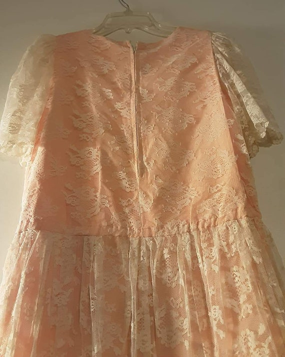 70's does 20's pink lace maxi dress - image 5