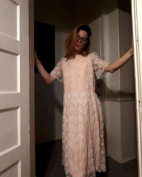 70's does 20's pink lace maxi dress - image 4