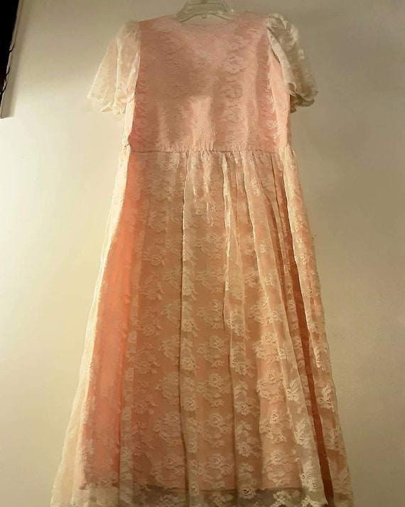 70's does 20's pink lace maxi dress - image 7