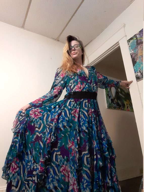 1980's silk maxi dress by Diane Freis