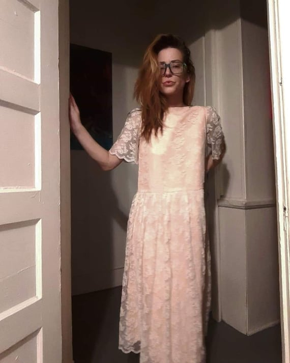 70's does 20's pink lace maxi dress - image 2