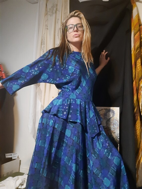 1980's geometric peplum maxi dress by Melissa Lane