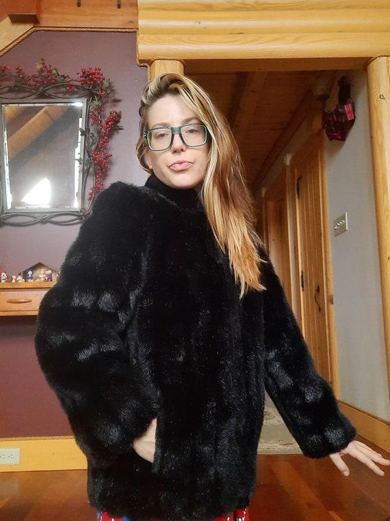 1980's Jordache faux fur bomber jacket