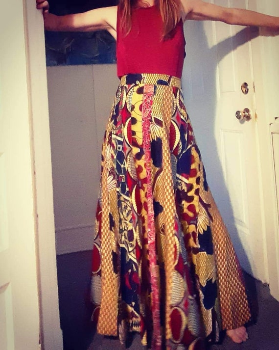 1970's psychedelic patchwork maxi skirt