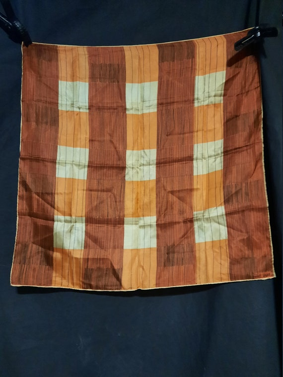 1940's geometric checked silk Vera Neumann scarf