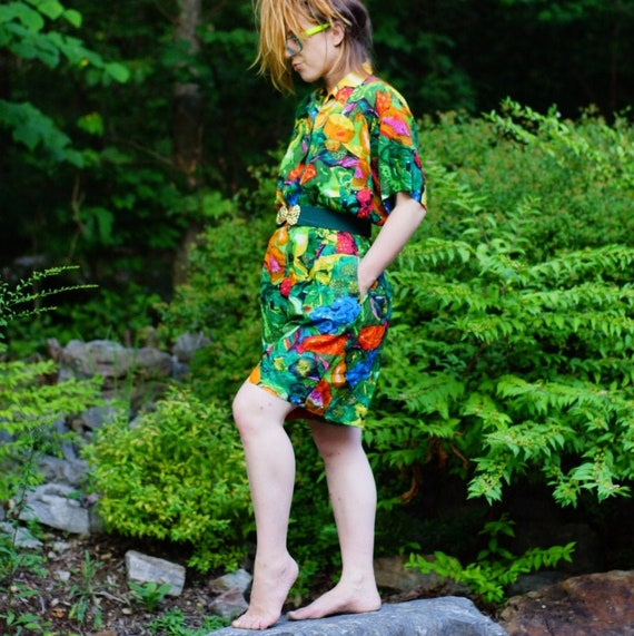 1980's tropical two piece shorts & blouse set