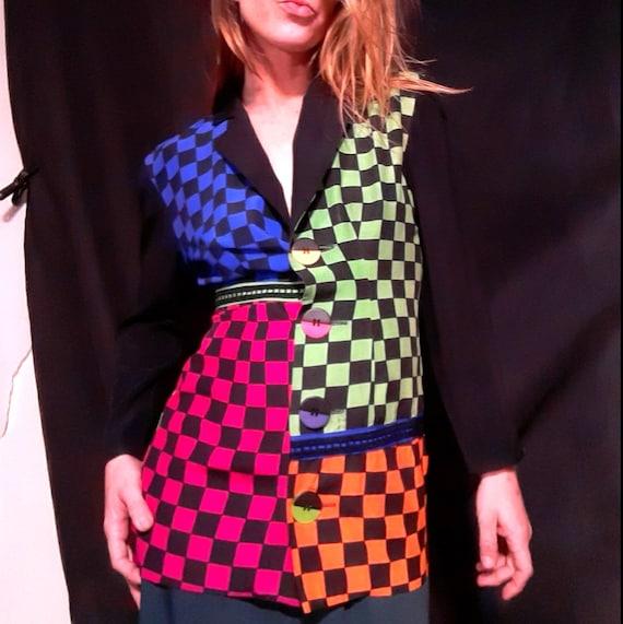 1980's neon New Wave checkerboard Beetlejuice jack