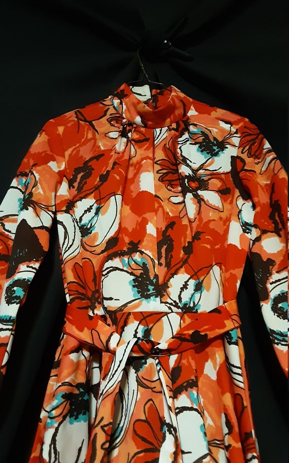 1970's psychedelic floral midi dress - image 8