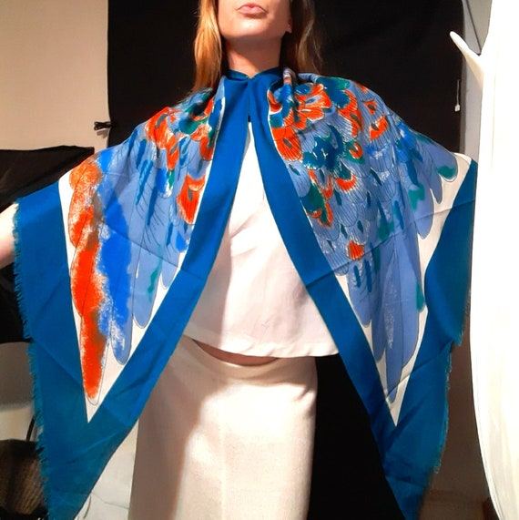 Extra large 1980's Vera Neumann feather shawl