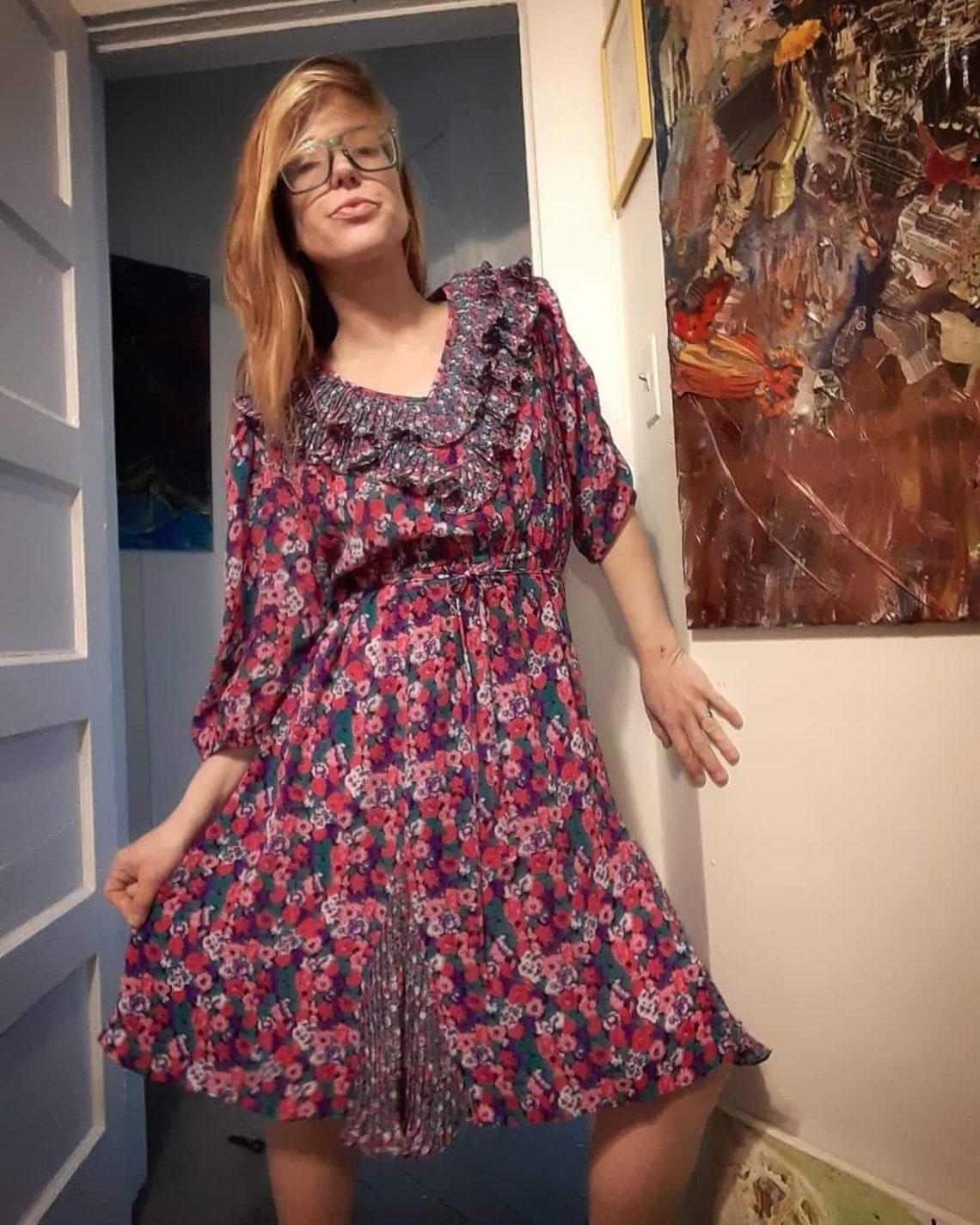 1970's floral tango shirtwaist dress