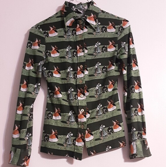 1970's button up disco blouse w/ Victorian croque… - image 6