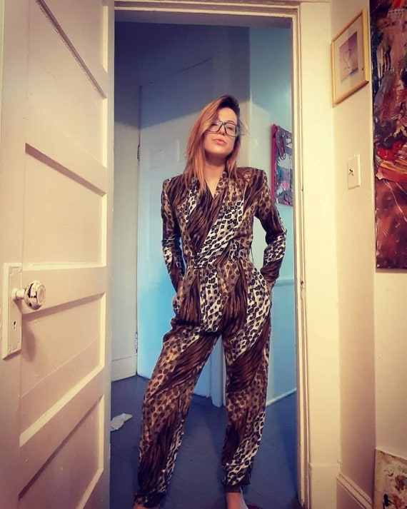 1980's animal print jumpsuit