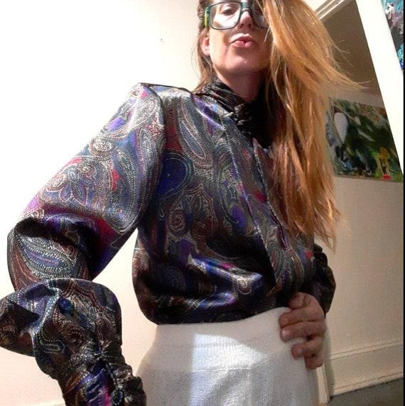1980's metallic paisley high neck blouse