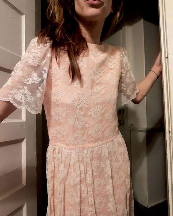 70's does 20's pink lace maxi dress - image 3