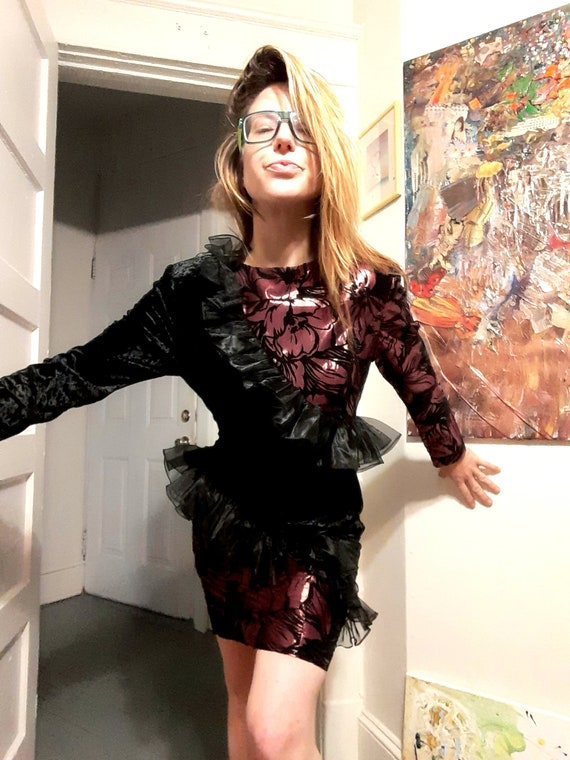 Asymmetrical 1980's party gown