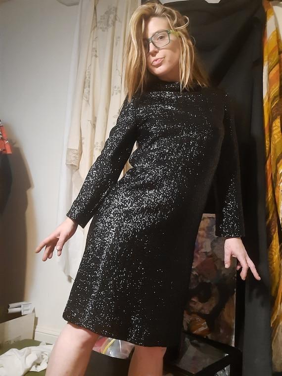 Rare 1960's metallic designer shift dress by Carly