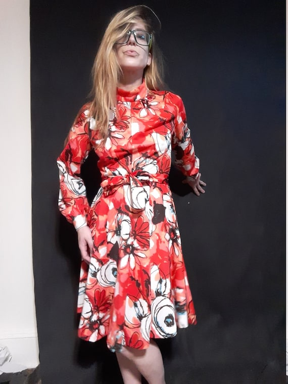 1970's psychedelic floral midi dress - image 3