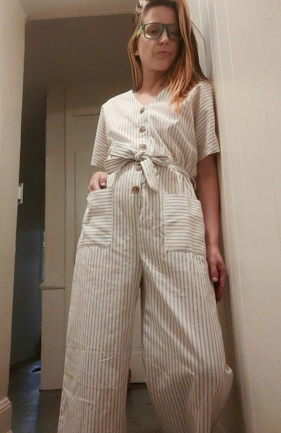 1990's does 40's pinstriped jumpsuit w/ tie