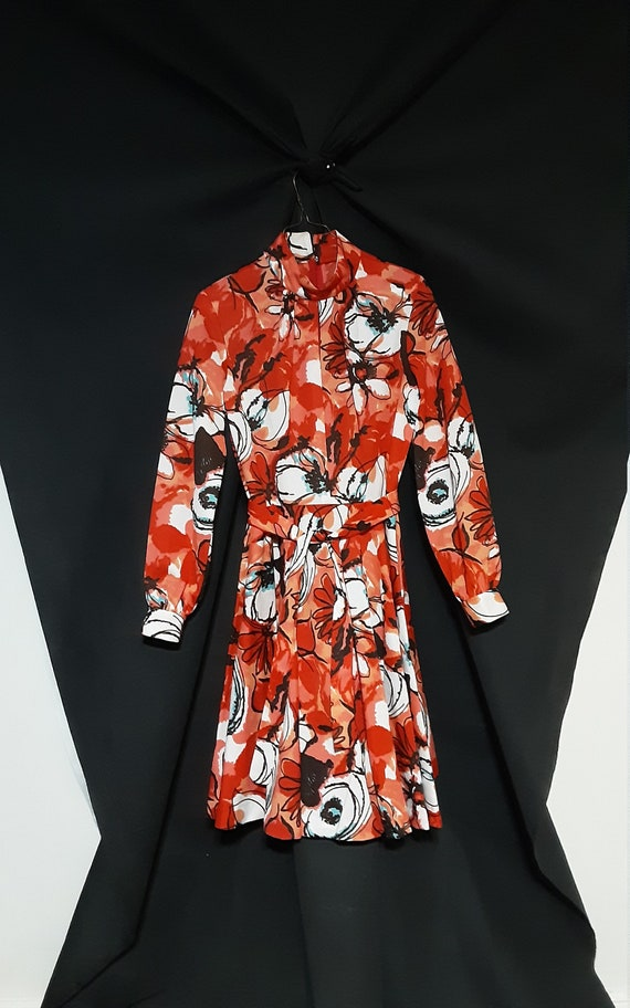 1970's psychedelic floral midi dress - image 6