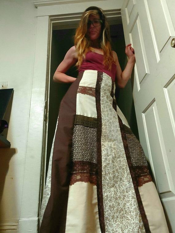 1970's bohemian maxi skirt w/ floral patchwork & l