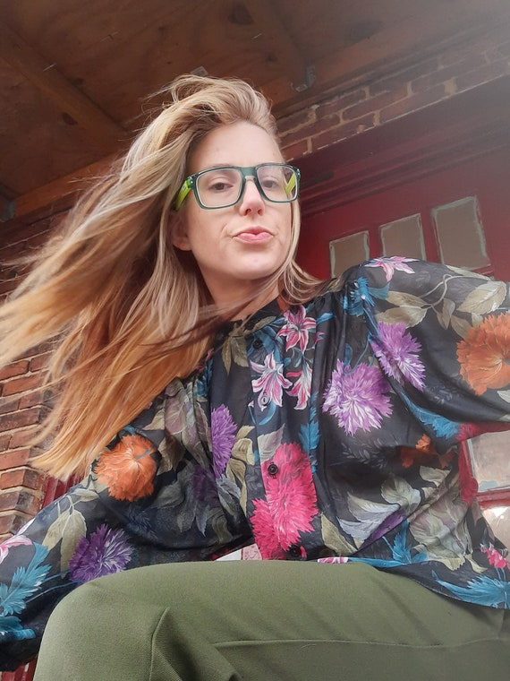 1970's floral disco blouse by Teddi
