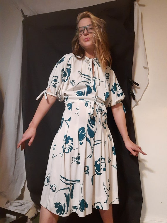 1970's does 30's floral keyhole midi dress by Jane