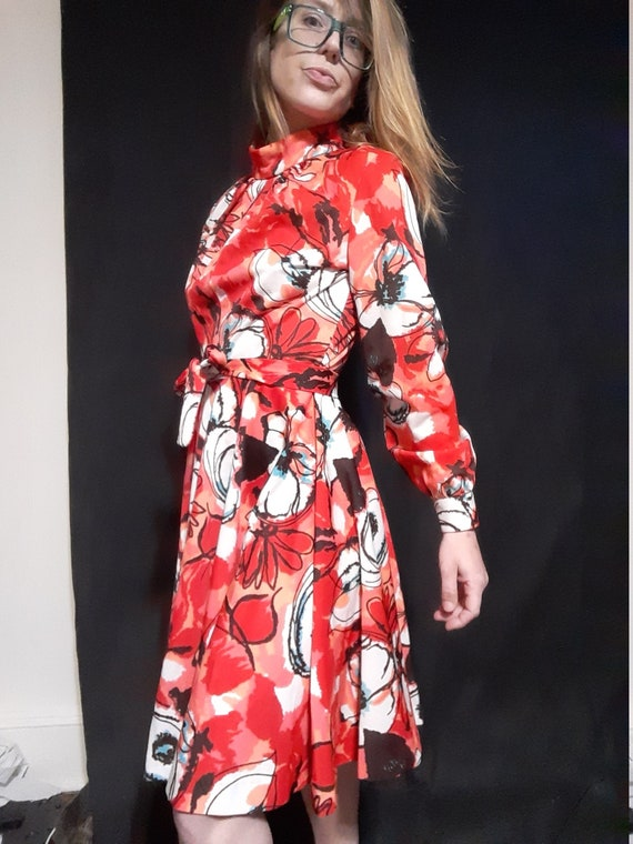 1970's psychedelic floral midi dress - image 4