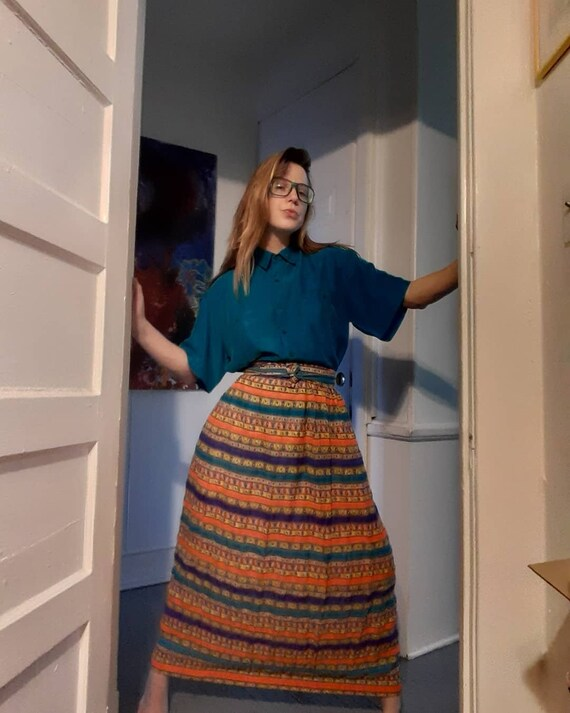 1960's - 70's boho maxi skirt w/ stripes