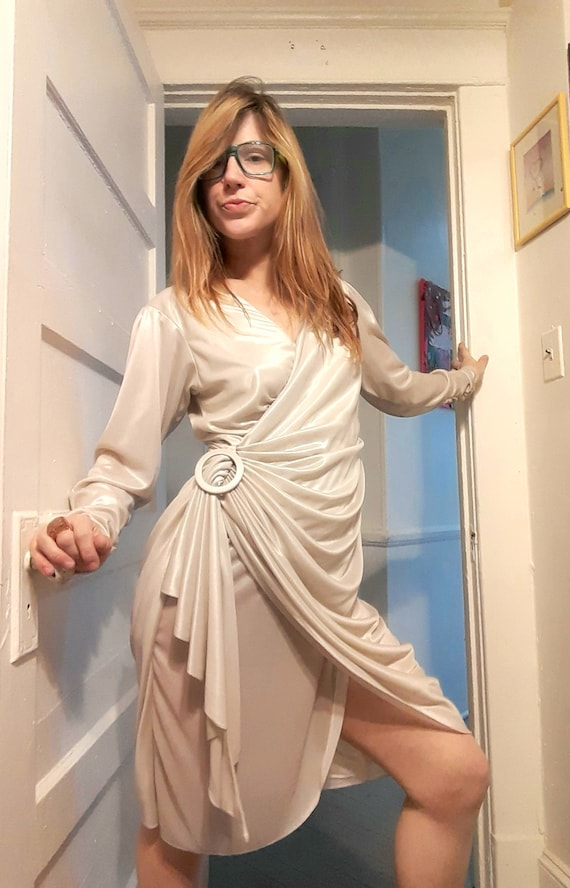 70's does 40's metallic wrap dress
