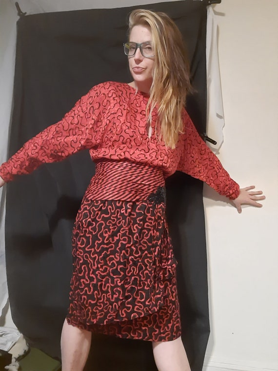 Rare 1980's silk peplum party dress by I.magnin