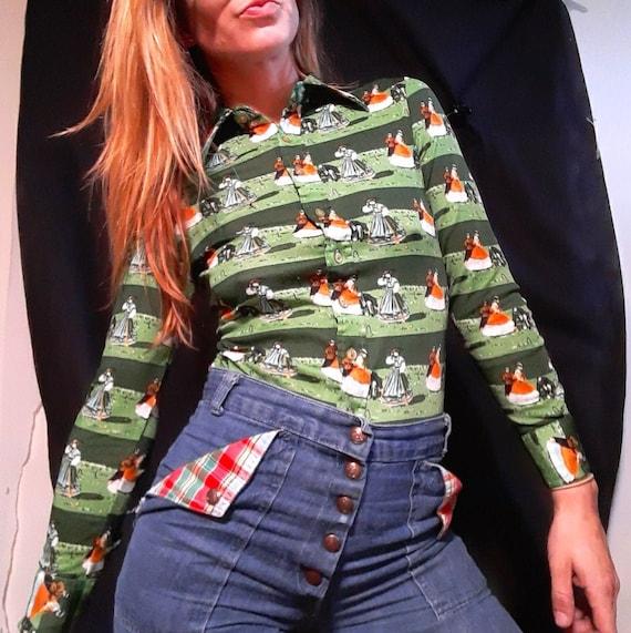 1970's button up disco blouse w/ Victorian croque… - image 1
