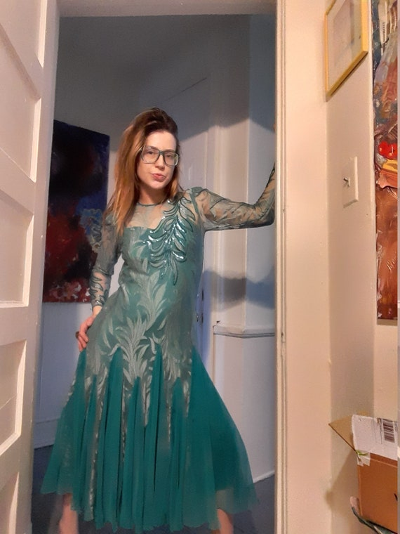 1970's embroidered lace gown & slip