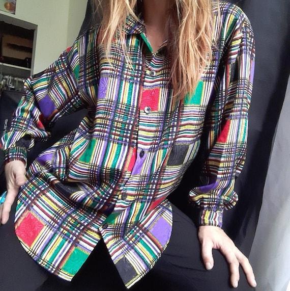 1980's plaid rainbow blouse w/ paisley weave